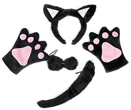 Black Cat Headband, Bowtie, Tail, Gloves