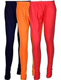 Cotton Leggings (Culture The Dignity Women's Cotton Leggings Combo Of 3_CTDCL_NvOP_NAVYBLUE-ORANGE-PINK_FREESIZE)
