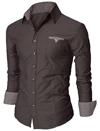 Doublju Button Down Mens Dress Shrit with French Cuffs CHARCOAL (US-XS)