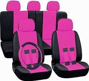 oxgord 17pc set pu leather pink black auto seat covers set airbag compatible. Black Bedroom Furniture Sets. Home Design Ideas