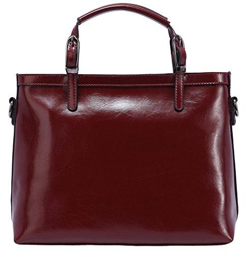 "Heshe 2014 New Design Soft Genuine Leather Tote Cross Body Shoulder Bag Handbag For Women ((L)15.7"" X (W)4.7"" X (H)10.2"", Wine) front-415536"