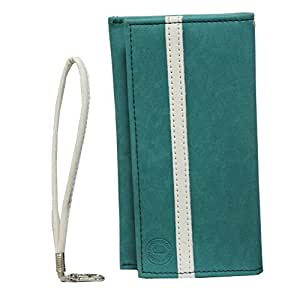 Jo Jo A5 Nillofer Leather Wallet Universal Pouch Cover Case For Huawei Honor 5C Light Blue White