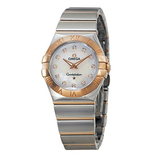 Omega Constellation Diamond Mother of Pearl Dial Steel and Rose Gold Ladies Watch 12320276055003 (Omega Gold Ladies compare prices)