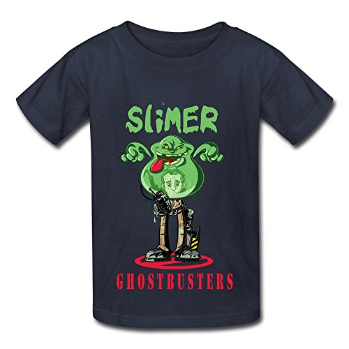 Youth Ghostbusters Movie Slimer Poster Screw Neck T-shirts Size M Navy