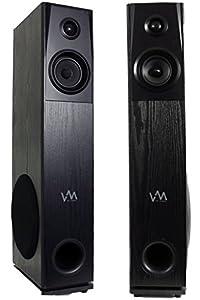 VM Audio SRAT10 Black Floorstanding Powered Home Bluetooth Tower Speakers (Pair)