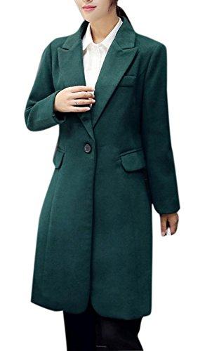Lingswallow Women's Army Green Casual Cocoon Lapel Wool Long Coat Jacket Blazer