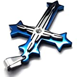 KONOV Bijoux Pendentif Croix Collier Homme - Chaîne - Flame - Acier Inoxydable - pour Homme - Couleur Bleu Argent - Avec Sac Cadeau
