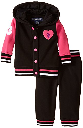 U.S. Polo Assn. Baby-Girls Newborn Fleece Hooded Jacket and Pant Set, Black, 24 Months