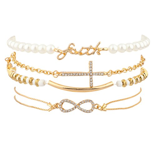 [Lux Accessories Faith Pave Cross Bar Infinity Arm Candy Faux Pearl Bracelet Set] (Arm Candy Costume)