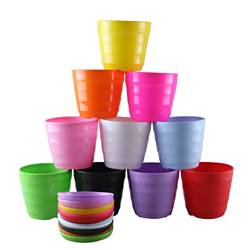 Truedays Set of 10 Multicolored Resin Circle Flower Plant Pots / Planters with Saucer Pallet,All (Plastic Pots For Flowers compare prices)