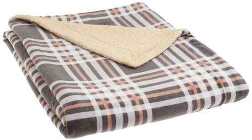 Northpoint Newport Rustic Plaid Rebersible Mink Fur Throw, Grey front-726510
