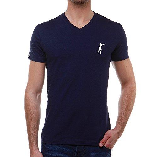 Boxeur Des Rues Série Exclusive T-shirt con Scollo a V e Stampa sul Dietro, Navy, S