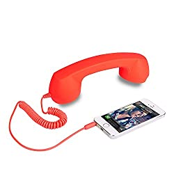 AKSHAJ Hot Sale Anti-radiation Retro Style 3.5mm Jack Wired Handset Phone iPhone 5/5c/5s/4/4s/HTC/Samsung/Nokia/Blackberry/Sony/LG with Speaker and Microphone - Orange - 2 Years Warranty