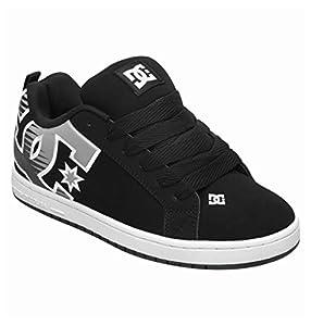 DC Men's Court Sneaker,Black/Grey,10 M US