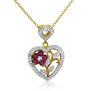 a4e8e83c6 14K Gold over Sterling Silver Ruby and Diamond Heart Necklace (.25cttw. 18
