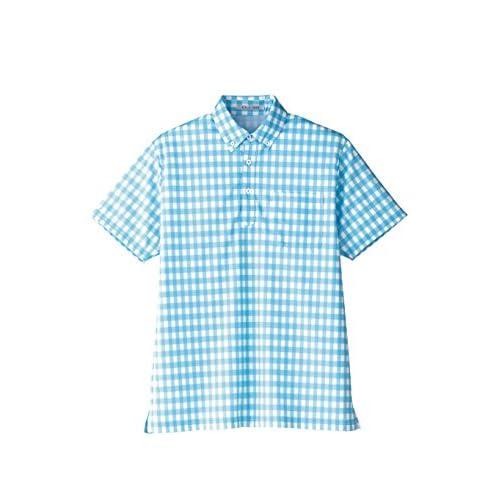 (フェイスミックス)FACEMIX チェックプリントポロシャツ FB4523U 7 ブルー 4L