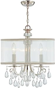 5623-CH Hampton 3LT Pendant, Polished Chrome Finish and Silver Silk Fabric Shade with Clear Smooth Crystal Drops