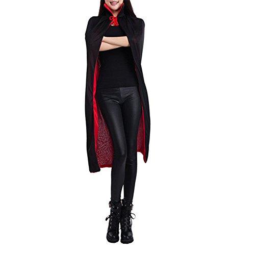 [FastTop Halloween Black Red Reversible Costume Goth Devil Pirate Vampire Cloak] (Red Devil Child Costume)