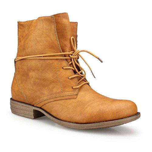 Damen Boots - Legere Boots mit Schnürung um den Schaft camel 36