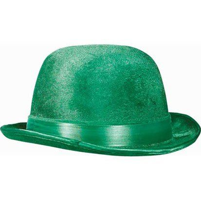 St. Patrick's Day Green Velour Derby Hat 10in - 1