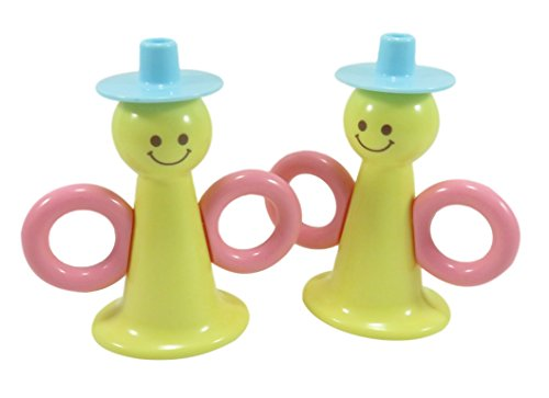 Cute-Baby-Toy-Horn-Trumpet-Musical-Instrument-45-x-425-Plastic-Yellow-Pink-Blue-2-Pack