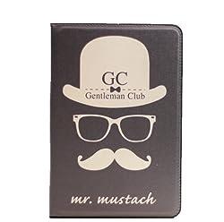 KolorFish Moustach Designer Series Funky Printed Leather Flip Case Cover for Apple iPad Mini, Mini 2, Mini 3 - Black
