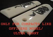 "Custom COMPACT/OFFICERS ""Black Dragon"" Smooth High-Impact Polymer 1911 Grips in Black on Ivory"
