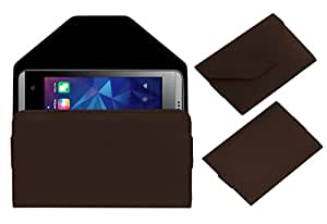 Acm Premium Pouch Case For Lyf Flame 3 Flip Flap Cover Brown