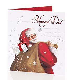 Mum & Dad - Traditional Santa Large Christmas Card