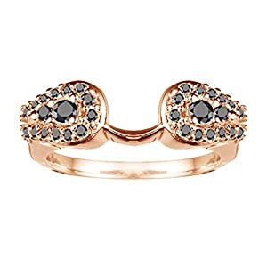 0.49 CT Black Diamonds Classic Ring Wrap Enhancer in Rose Gold Plated Sterling Silver