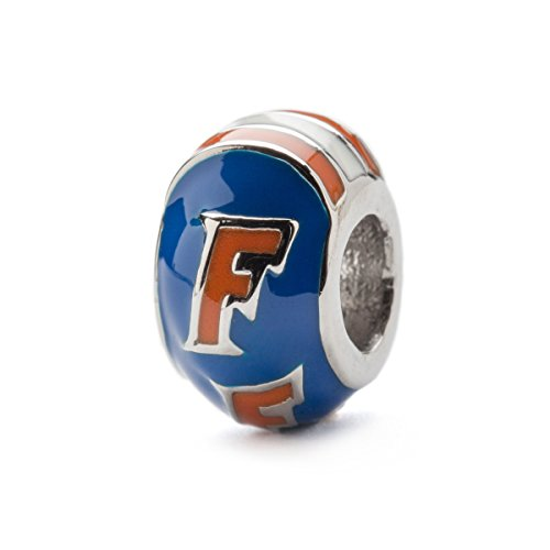 University of Florida Blue with Orange F Round Bead Charm - Stainless Steel - Fits Pandora Charm Bracelets