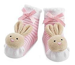 Mud Pie Baby-Girls Newborn Bunny Rattle Socks, Pink, 0-12 Months