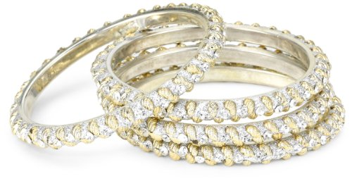Chamak by priya kakkar White Metal Base Bangle Bracelet