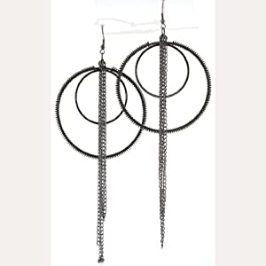 Oxidized Silver Tone Spiral Wire Double Hoop & Chains Dangle Earrings 60mm