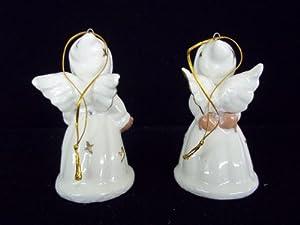 SET 2 CHRISTMAS ANGEL BELLS ORNAMENT PORCELAIN AFRICAN-AMERICAN FIGURINE GOLD TRIM
