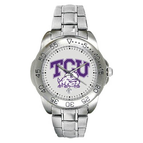 Texas Christian Horned Frogs Men's Gameday Sport Watch w/Stainless Steel Band