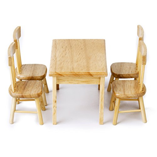 1 12 Crude Wooden Kitchen Dining Table Chair Set Barbie Dollhouse Furniture 5pcs Ebay