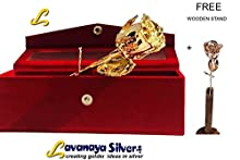 """Lavanaya Silver """" Gold Plated Rose 6 inch With free exclusive wooden stand worth rs 199/-"""