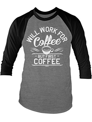LOGOPOP Will Work For Coffee Unisex Adult Raglan T-shirt, S, Heather/Black (Heather Coffee Cup compare prices)