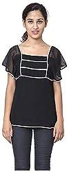 Izna Women's Slim Fit Top (IDWT108BLK-Small, Black, Small)