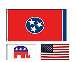zooyoo New 3x5 Tennessee State Flag Republican Elephant Flag And US FLAG