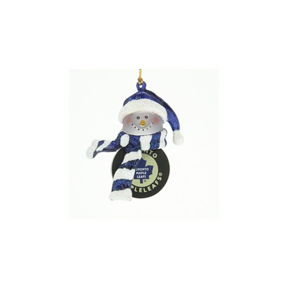 Set of 2 NHL Toronto Maple Leafs Hockey Acrylic Snowman Christmas Ornaments 4