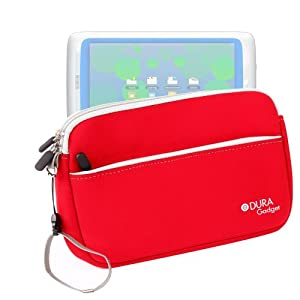 "DURAGADGET Fantastic Red ""Travel"" Water Repellent Neoprene Zip Protective Sleeve With Front Storage Section & Twin Zips For Archos Childpad 2"