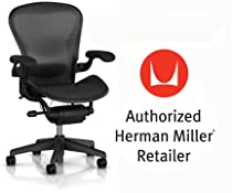 Hot Sale Herman Miller Aeron Chair Highly Adjustable with Lumbar Support Pad - Large Size (C) Graphite Dark Frame, Waves Carbon Black Pellicle Suspension Material Home Office Desk Task Chair