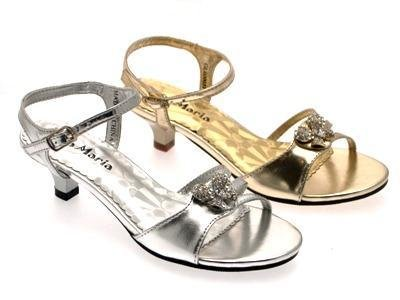 GIRLS LOW HEEL DIAMANTE WEDDING BRIDESMAID PARTY GOLD SILVER SHOES HEELED SANDALS junior sizes 8 - 2