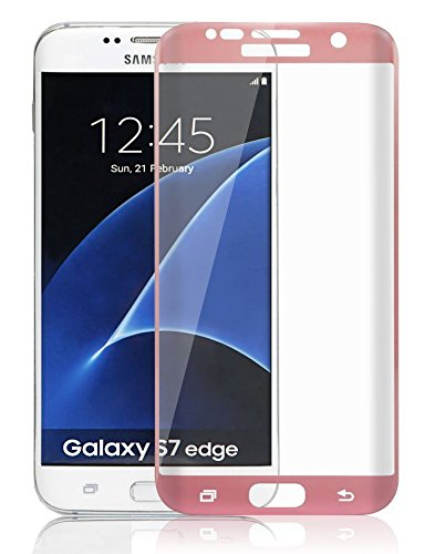 Josi Minea [ Samsung Galaxy S7 ] Tempered Glass 3D Curved Ballistic LCD Screen Protector Full Coverage Crystal Clear Cover Screen Guard Premium HD Shield for Samsung Galaxy S7 - Rose Gold