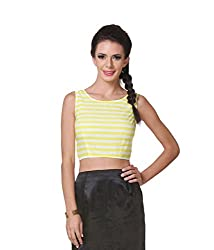 Zastraa Women's Crop Top (ZSTRTOPS0005_Yellow_Medium)