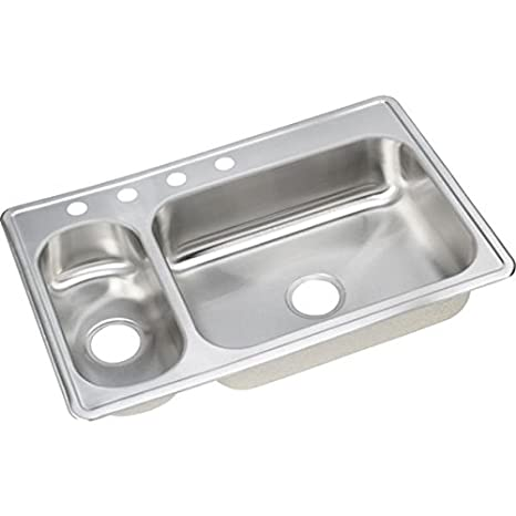 Elkay DSEMR23323 Dayton Elite 33-Inch by 22-Inch Stainless Steel Double Bowl Three-Hole Kitchen Sink, Satin Finish