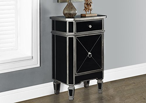 """BRUSHED CHARCOAL GREY / BLACK MIRRORED 29""""H ACCENT TABLE (SIZE: 18L X 13W X 29H)"""
