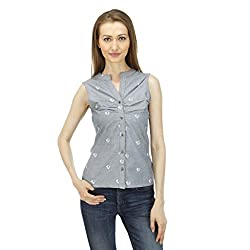 ELI Floral Chambray Party Wear Casual Women Top